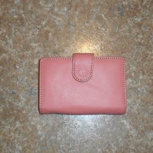 Unknown Wallet Peachy Pink Coral Leather Bi-Fold